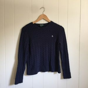 🙂 5/$20 Ralph Lauren navy cable knit sweater s